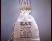 Personalized Wedding Fork Set - Hand Stamped Keepsake - Mr Mrs, I do Me Too, I love you I know Wedding Fork Set