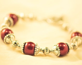 Bordeaux Swarovski Pearl and antique silver bracelet