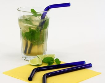 blue glass drinking straws,Set of 6,10 mm,curved