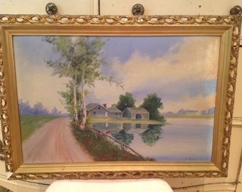 antique 1907 painting on board of a serene farmhouse in highly decorated original gold gesso frame