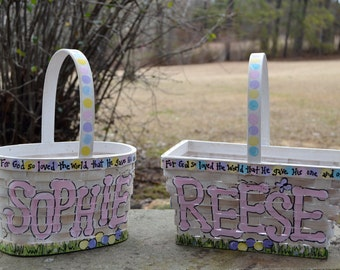 Custom hand painted Easter Basket - Small Oval