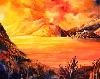 Watercolor painting of Hospiz Grimsel at sunset  surrounded by Swiss alps in the European country of Switzerland.