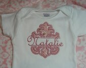 French Inspired Custom Order Pink Machine Appliqued Personalized Baby Onesie