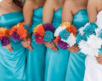 15 Piece Daisy Bridal Bouquet Wedding Bouquet Set Turquoise Daisy Bouquet Yellow Daisy Bouquet, Malibu Blue Bouquet, Blue bouquet