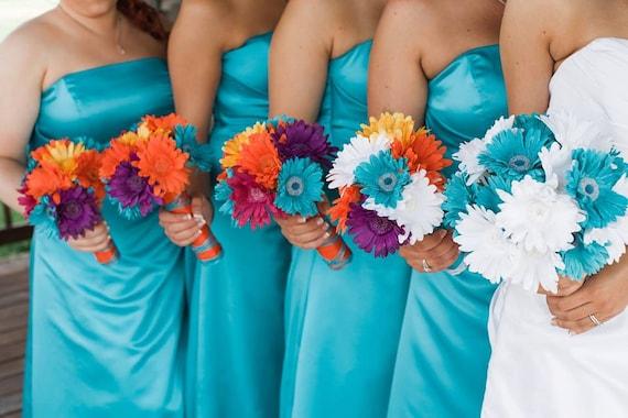 15 Piece Daisy Bridal Bouquet Wedding Bouquet Set Turquoise