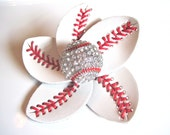 Baseball Flower Accessory and hair clip.