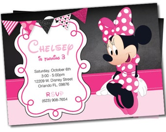Minnie Mouse invitations, Minnie Mouse Party Package, Minnie invite, Minnie Party, Minnie Invitation, Minnie Mouse Package (M5)