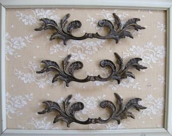 3 Vintage Decorative Drawer Pull Handles