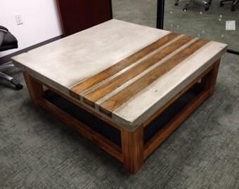 Items similar to cedar wood coffee table custom handmade - Table basse bois metal ...
