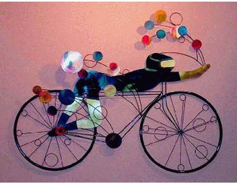Bicyclist Wall Sculpture