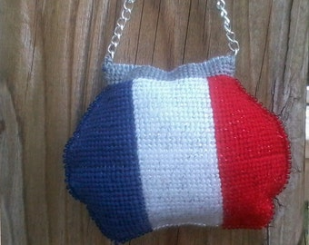 Needlepoint French flag Purse  Ornaments