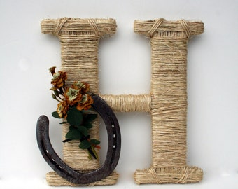 Rustic Wrapped Letter , Twine wrapped letter, Wall letter, Country decor, Photo Prop,  Horseshoe decor, Rustic Home Decor, Western Letter