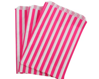 Pink Striped Paper Bags