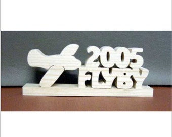 Custom Airplane Plane Silhouette Shelf or Desk Sitter with any Two Words Natural Pine Unfinished