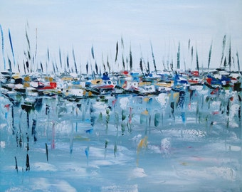 """Boats at rest - wrapped Giclee print 24""""x24"""" boats harbor water ocean sea blue"""