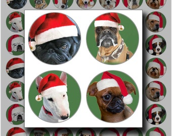 Christmas bottlecap images Dogs Digital Collage Sheet 1 inch circles printable