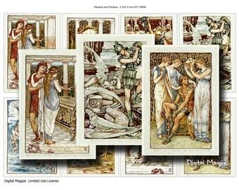 Digital collage sheet Pandora and Perseus ATC printable