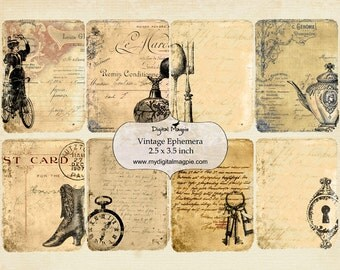 Shabby vintage ephemera ATC digital printable collage sheet 2.5 x 3.5 inch tags background paper victorian instant download