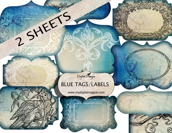 Blank Printable Tags: Digital Collage Sheet Blank Blue Labels Tags Antique Shabby