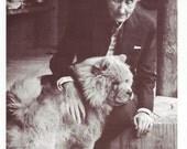 Vintage Dog Card  Georgia O'Keefe and Her Chow Chow