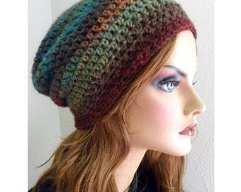 Slouchy Beanie hat wool blend Boho Chic Hand Crocheted womens fashion accessories jewel tone colors