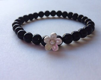 stretch bracelet, Black onyx bracelet, sterling silver bracelet, elastic bracelet, onyx and silver bracelet, Gemstone