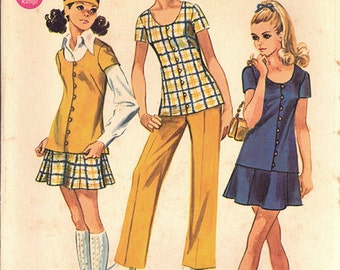 1969 Vintage Simplicity Pattern 8607, Size 11/12, Young Junior/Teens' Tunic, Mini-Skirt and Pants