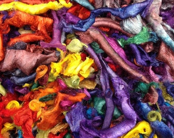 Cut Silk Cocoon, Silk Carrier Rod Waste, Silk Waste, Hand Dyed, Selection Of Silk Waste for Embellishment in colours across the Spectrum