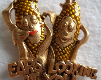 Vintage Signed Danecraft  Goldtone Ears Looking at You Corn on the Cobs Brooch/Pin