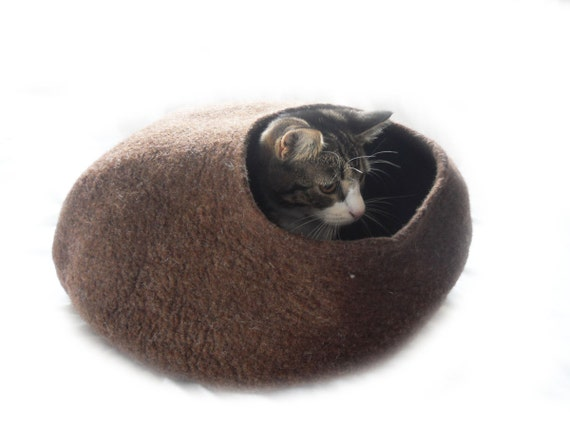 Cat Bed Cat Cave Cat House Bubble Felted Wool Natural Brown with FREE Ball