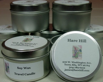 Three Scented Soy Wax Candles ~ Come in Footed Travel Tins ~ Over 100 Fragrances From Which to Choose