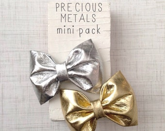 Metallic gold silver faux leather hair bows set of two