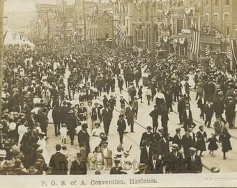 Hazleton PA P.O.S. of A. parade convention antique rppc photo