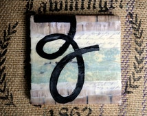 Anthropologie Style, Shabby Chic, Cursive Letter Z: Encaustic Painting