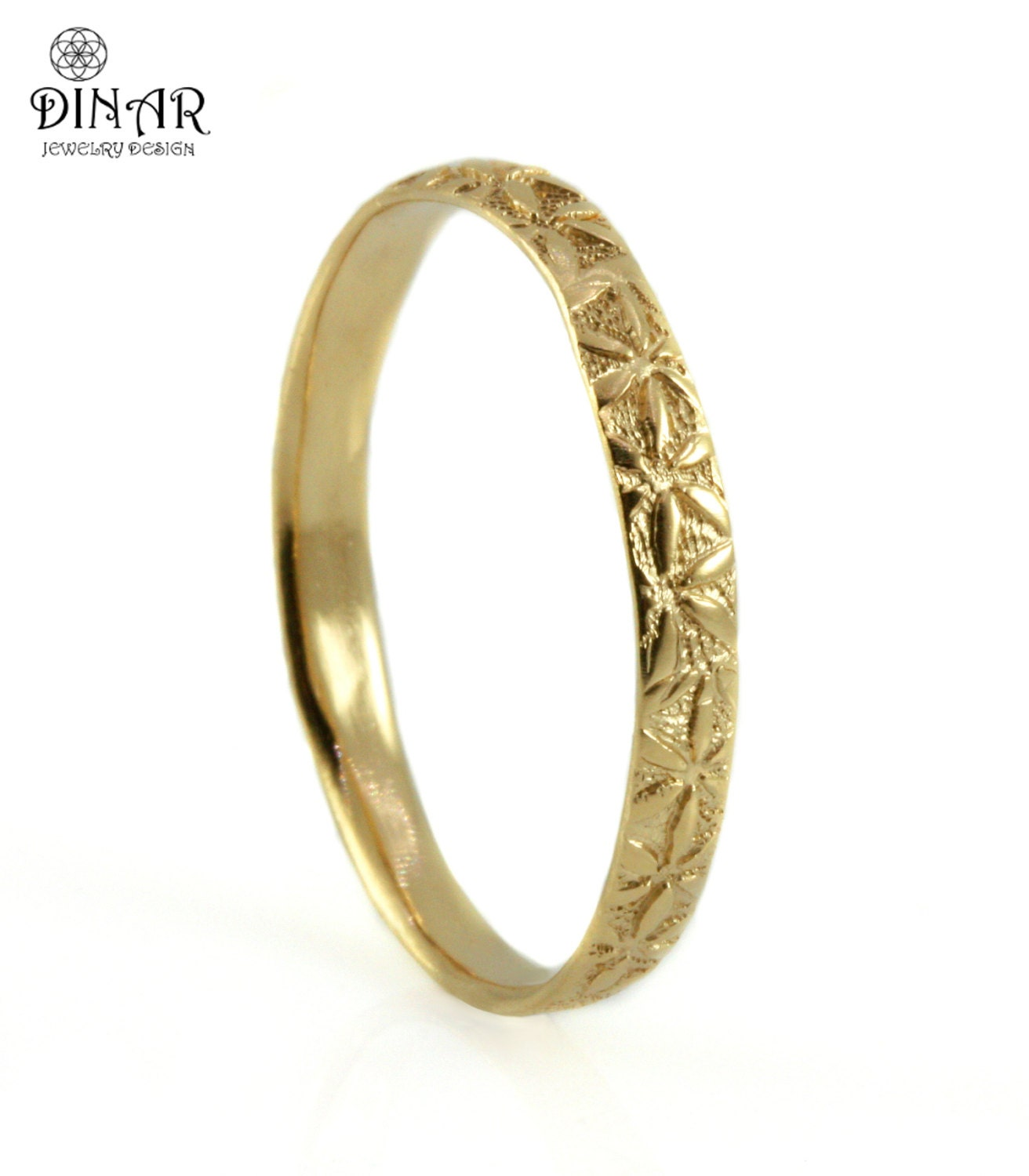 14k yellow gold band, thin women band, women's wedding ring, Bohemian style , engraved flowers, floral engraving, handmade gold band, DINAR
