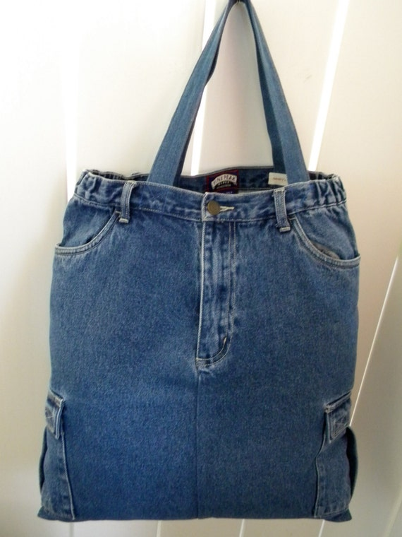 Large Original Hand Made OOAK Pine Peak Blues Recycled  Jeans Denim Bag With 6 Pockets