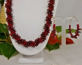 Set - Dark Red Picasso Czech Rizo Bead Necklace Handmade and Matching Earrings SRAJD 3520