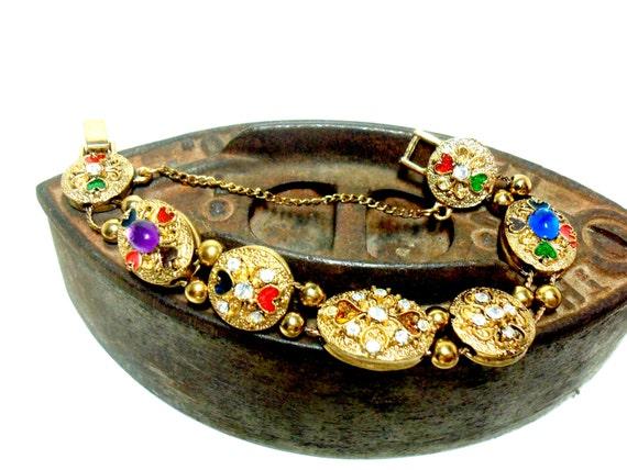 Vintage Slide Bracelet, Gold Tone Sliding Chain Bracelet, Slide Charms,  Multi Colored Stones, Rhinestones, Ornate, Safety Chain