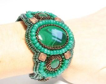 """Malachite Bracelet """"Mistress of Copper Mountain"""". Bead embroidered bracelet. Handmade designer one of a kind bracelet. Green beaded bracelet"""