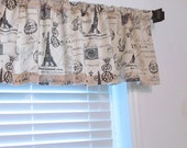 French Stamp  Eiffel Tower Curtain Rod Pocket  Window Valance HANDMADE in USA - OldStation