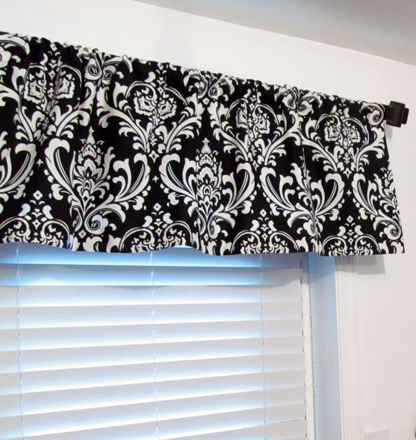 Classic Black And White Damask Curtain Valance By Oldstation