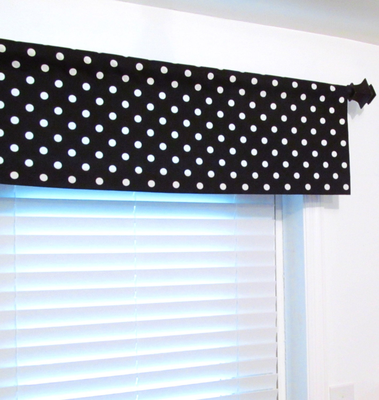 black white polka dots curtain valance custom sizing. Black Bedroom Furniture Sets. Home Design Ideas