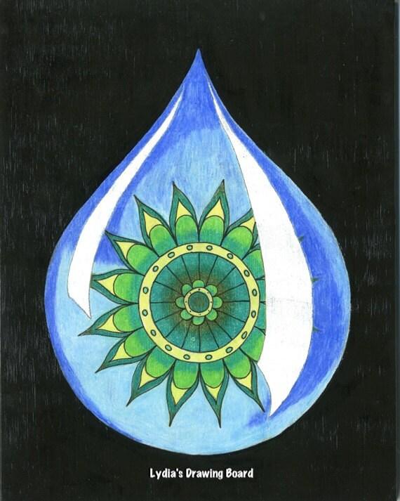 Mandala Art, Mandala Wall Art, Mandala Print, Meditation, Yoga Studio Decor, Spiritual, Peaceful Art, Sacred Geometry Art, Yoga, Raindrop