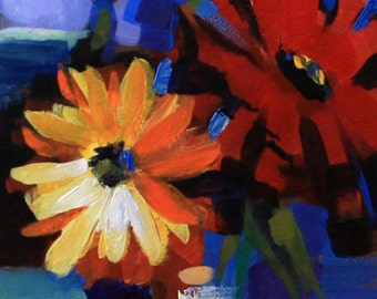 "Floral painting 5x7"" small original acrylic on panel red orange blue impressionist still life fine art by Cristina Jacó"