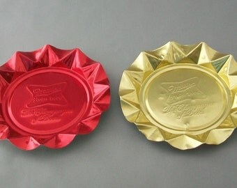 2 Vintage Miller High Life Ashtrays Red and Gold Metal Aluminum Collectible FREE SHIPPING