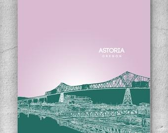 Office Art Poster / astoria Oregon Skyline Art Poster / Home Decor / Any City or Landmark