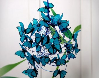 """Lamp with turquoise butterflies """"Feeling Blue"""""""