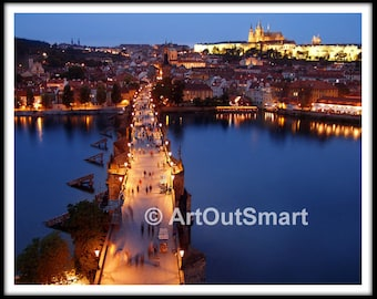Prague Karlov Bridge, Czech Republic - Color or Black & White, Prague Photography, Prague Wall Art Decor