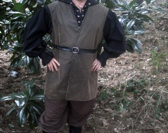 Men's Renaissance Pirate Vest Brown Tapestry Faux Suede Cosplay LARP Custom to fit