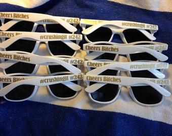 Honey Sunnies - Personalized Sunglasses, Bachelorette Set of 8, White